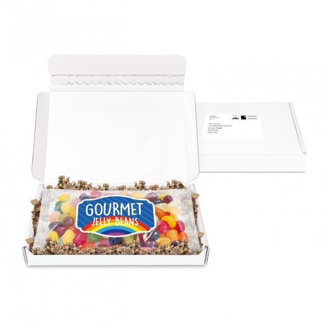 Gift Boxes – Mini White Postal Box – Jelly Bean Flow Bag – PAPER LABEL