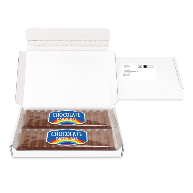 Gift Boxes – Mini White Postal Box – 12 Baton Bars – PAPER LABEL